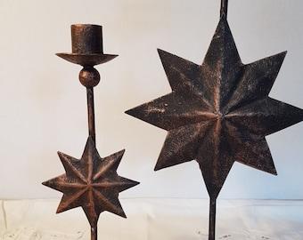 Decorative Pair of Star Burst Candlesticks