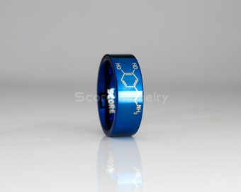 8mm Blue Tungsten Band with Flat Edge Dopamine Molecule, Physics Ring, Chemistry Ring, Science Teacher Ring Laser Engraved - Tungsten Ring