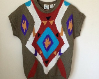 Colter Bay (M) International Tribal Hipster Multicolor Sweater 90's Women's Vintage
