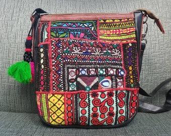 Embroidered crossbody bag, banjara crossbody bag, tribal ethnic crossbody, boho crossbody bag, gifts for her
