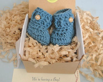 Gender Reveal to Grandparents, Baby Announcement, Baby Boy Reveal, BOOTIES IN A BOX® Ribbed Cuff, Newborn Baby Booties, Ready To Ship