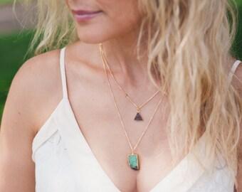 Druzy Triangle Necklace - 14k Gold Filled - Gemstone Jewelry