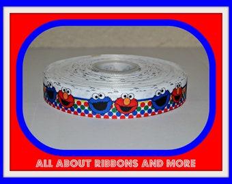 7/8 inch Elmo and Cookie Monster on Polka Dot Grosgrain Ribbon( 5 yard Package)