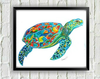 Sea Turtle Art- Sea Turtle Print-Beach Art-Coastal Art-Turtle Painting-Turtle Wall Art-Turtle Decor-Beach House Art