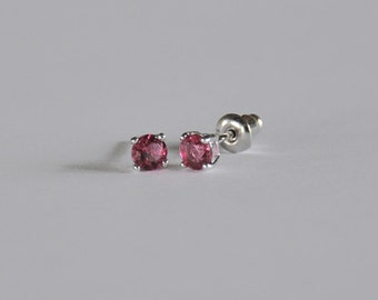 Sparkling Sterling Silver Little Girls Stud...Girls CZ Stud Earrings. ..Girls Stud Earrings... January Birthstone...Free Shipping!!