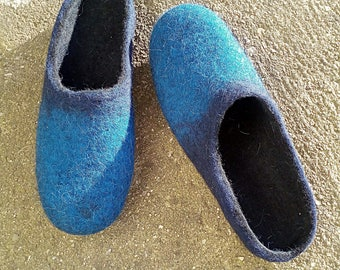 Felted men slippers men's house shoes,blue,dark blue black natural wool clogs,eco friendly gift for him,Gift for Dad,Father's day gift