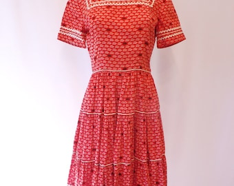 Vintage Hand sewn Retro Red Tiered Full Circle skirt Dress Rick Rack Square Dance