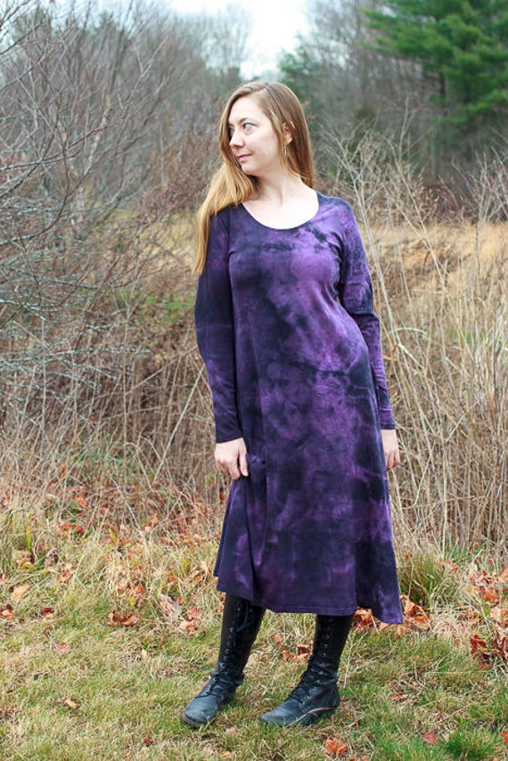 Shibori River Dress in Plum, American Grown Organic Cotton Jersey A-line Dress