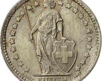 switzerland 1/2 franc 1957 bern au(50-53) silver km23