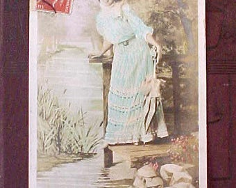 Charming Victorian Era French Postcard with Lovely Writing
