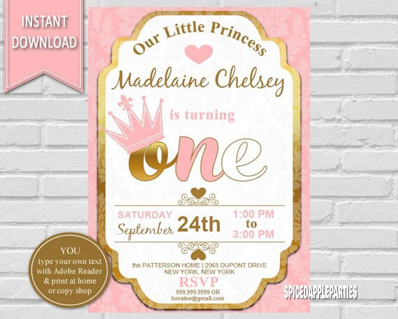 Princess invitations birthday boatremyeaton princess invitations birthday filmwisefo