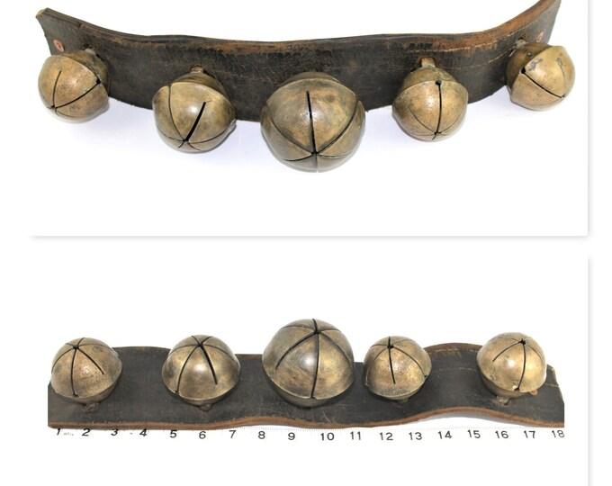 Antique set of Brass Sleigh Bells, Rump Strap Bells