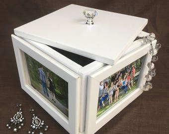 Rotating photo frame jewelry storage box