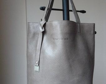 SALE! Leather Bag Capuchino Color, Leather Tote Bag, CarryAll, Shoulder Bag, Shopping Bag, Handbag,