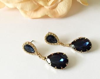 Blue Tear Drop Bridal Earrings
