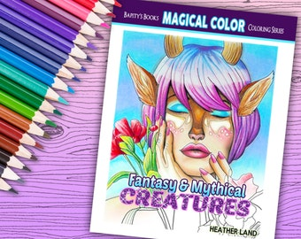 Fantasy and Mythical Creatures - Adult Coloring Book - 30 pages - Instant Download