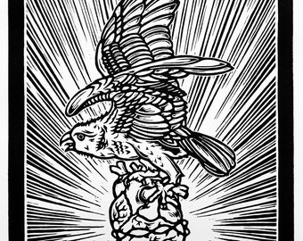 Eagle and Heart - Linocut, Signed and Numbered Edition of 100