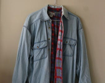 80s Open Trails Denim Flannel Lined Shirt