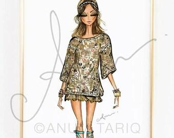 "Fashion Illustration Print, Chanel Resort, 8x10"""
