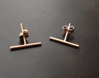 Sterling Silver Bar Earrings, Gold Line Earrings, Geometic Earrings, Bridesmaids Gift, Minimalist Earrings, Line Post Earrings, Gold Studs