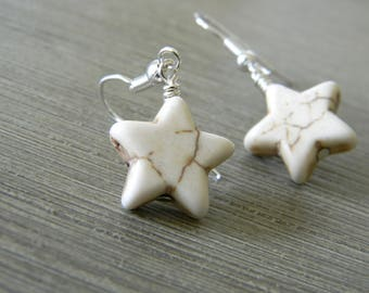 White Star Dangle Earrings Stone Earrings 15mm