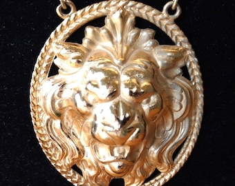 Vintage designer signed monet gold toned big lion pendant