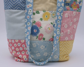 Small Tote Bag Pastel Patchwork Quilted