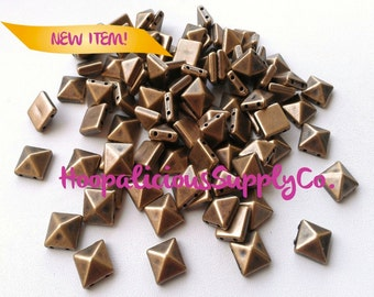 50pc Acrylic Studs. Sew or Glue. 10mm Square Pyramid.Choose: Silver, Gold, Brass, or Gun Metal.Fast Shipping w/Tracking for Domestic Orders.