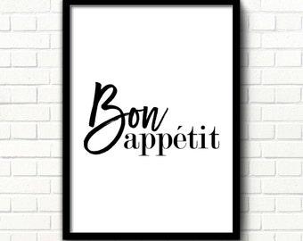 Bon appetit sign Bon appetit print Kitchen printable decor Kitchen wall poster French print Dining room decor Black & white art print decor