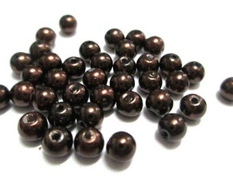 20 mother of Pearl dark brown round glass beads 4mm (A-05)
