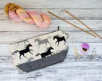 Medium Zippered Knitting Project Bag/Crochet Project Bag: Unicorns in Neon Noir Zippered Project Bag (Knitting Bag, Crochet Project Bag)