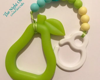 Silicone Stroller Hook - Toy Attachment, Extra Large Pear Teether, aqua, yellow, teal, attach to Ergo, Tula, Lillebaby Carrier