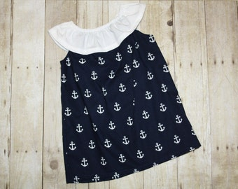 2t ready to ship Navy Anchor Dress for Baby, toddler, and girls sz 2  Beach Nautical Anchor Patriotic 4th of July PB48
