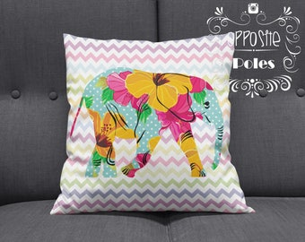 Sale !! Elephant flower pillow - Elephant flower Décor - Elephant pillow - Elephant - Elephant chevron - Pillow case - Free Shipping