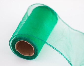 "Organza Ribbon Turquoise Green Sheer Ribbon 4.7"" Craft Supplies DIY Wedding Decorative Ribbon Light Green Ribbon Delicate Costume Ribbon"