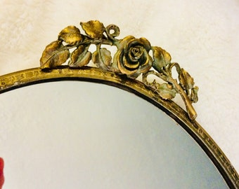 "Vintage Gold Mirror Tray Rose Floral Filigree Dresser Vanity Tray 12.5"" Gold Plated"