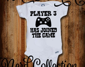 Baby Onesie Player 3 Joined the Game Gamer Pregnancy Announcement Daddy Baby Shower Gift Nursery Funny Custom Baby Clothing Gerber New Baby