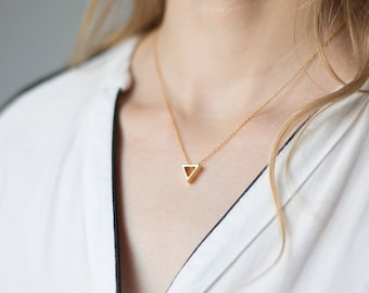 Gold 3D Triangle Necklace | 925 Sterling Silver | 24k Gold Plated Necklace | Modern Minimalist Pendant | Geometric  Jewelry