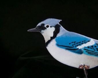 Folk Art Enamel on Copper Blue Jay