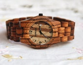 Wooden Watch Women or Men Zebra Wood Date Thin Watch Wrist Bracelet Quartz Vintage Watch Calendar Round Dial Gift Zebra