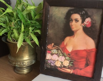 Irresistible Raven Haired Beauty - painting framed in natural wood.
