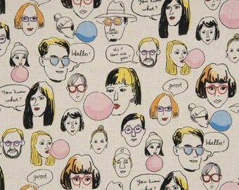 Japanese Fabric | Linen Cotton Canvas | COSMO TEXTILE | Funny Face - Foreigner | Anna Fabric