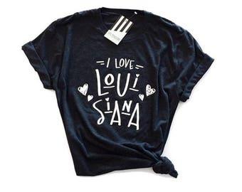 Hey, Penelope I Love Louisiana T-Shirt in Black