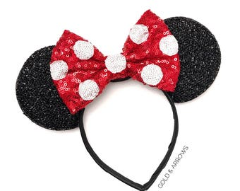 Polka Dot Minnie Ears - Polka Dot Mickey Ears - Minnie Polka Dot  Mickey Ears - Sparkly Mickey Ears Headband -  Sparkle Mouse Ears
