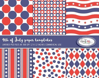 50%OFF July 4 paper templates to make your own digital papers, PSD template, layered template, overlays, Photoshop templates, P416