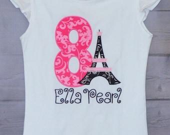Personalized Pink Paris Eiffel Tower Birthday Applique Shirt or Onesie Girl