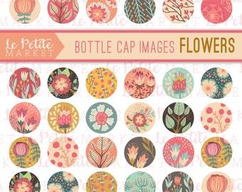 Floral Bottle Cap Images, Flower Collage Sheet, Flower Bottle Cap Images, Flower Sticker Sheet, Wedding Printable, Invitation Printable