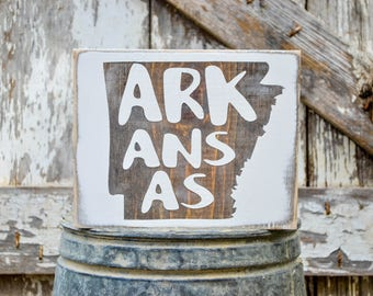 Arkansas Wood State Sign | Rustic Decor | Wood Sign | Country Home | Wall Hanging | Farmhouse Decor | Whitewash | Home State Sign