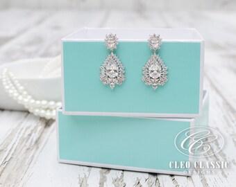 Bridal Jewelry | Bridesmaid Jewelry | Wedding Jewelry | Crystal Bridal Earring | Dangle Earrings | Bridesmaid Drop Earrings