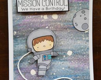 Astronaut Handmade Birthday Card!